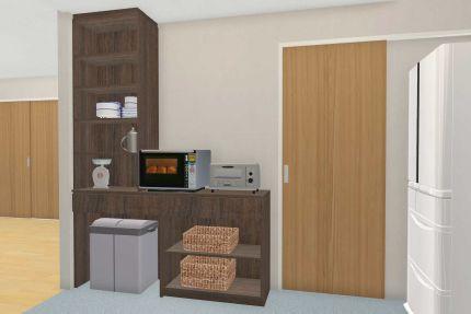 キッチン背面の家電、食器収納 ごみ箱入れつきです。