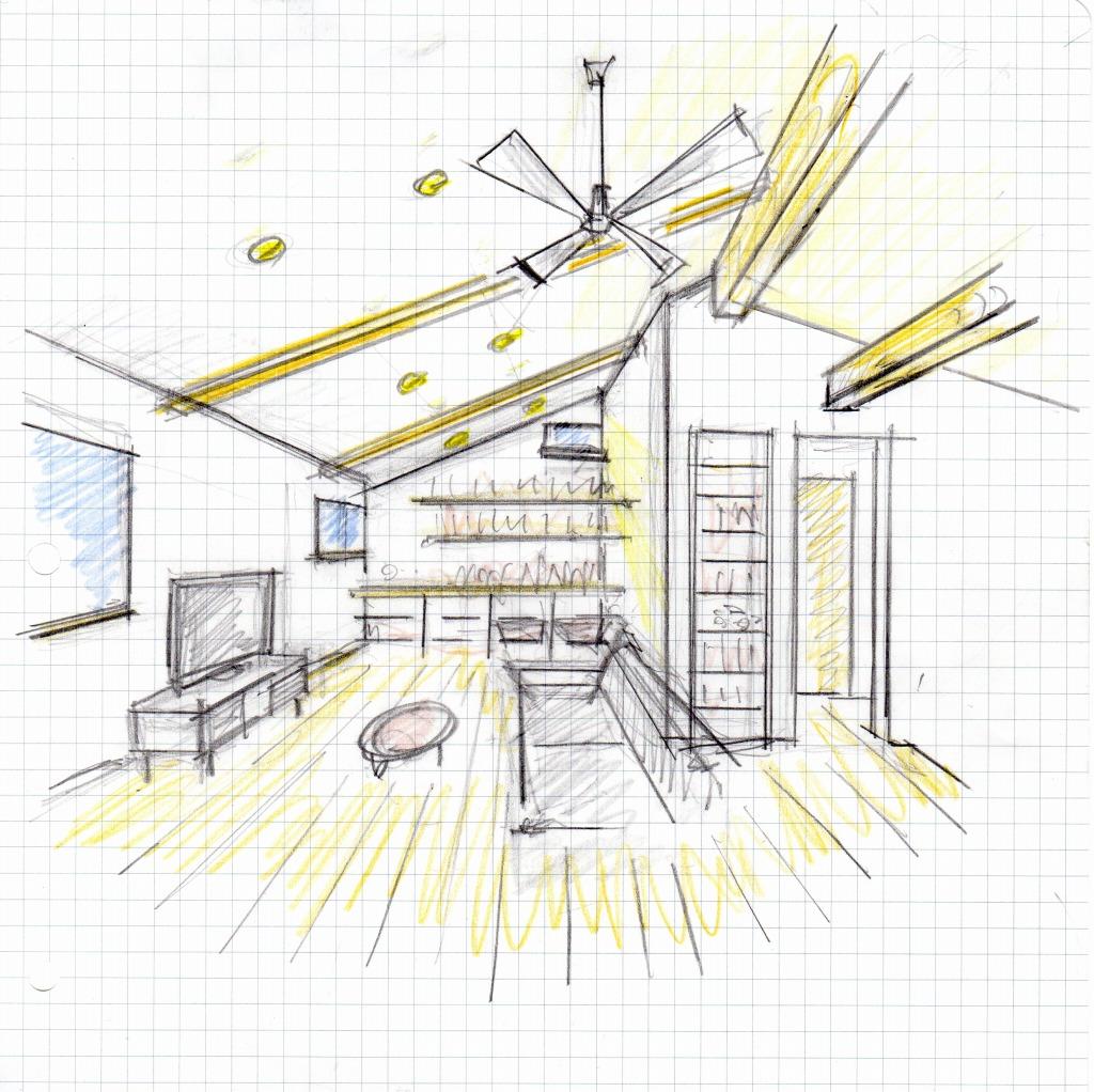 天井の高いひろびろリビングが特長の府中の家